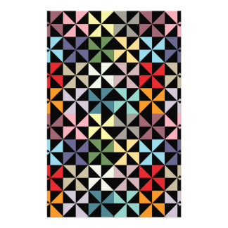 Colorful Geometric Pinwheel Black Stationery