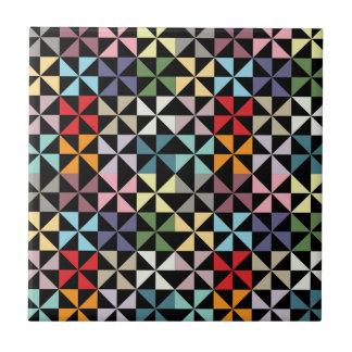 Colorful Geometric Pinwheel Black Tile