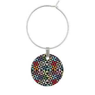 Colorful Geometric Pinwheel Black Wine Glass Charm