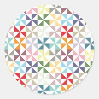 Colorful Geometric Pinwheel Classic Round Sticker