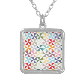Colorful Geometric Pinwheel Personalized Necklace