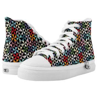 Colorful Geometric Pinwheel Pattern Black High-Top Sneakers