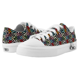 Colorful Geometric Pinwheel Pattern Black Low-Top Sneakers