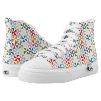 Colorful Geometric Pinwheel Pattern High-Top Sneakers