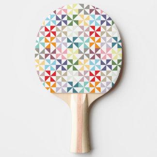 Colorful Geometric Pinwheel Ping Pong Paddle