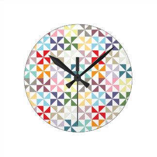 Colorful Geometric Pinwheel Round Clock