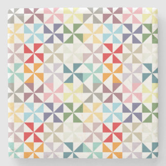 Colorful Geometric Pinwheel Stone Coaster