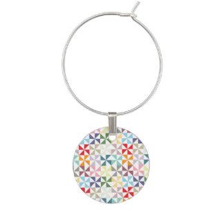 Colorful Geometric Pinwheel Wine Glass Charm
