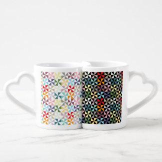 Colorful Geometric Pinwheels Couples Coffee Mug
