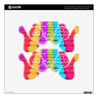 Colorful Geometric PlayStation 3 Controller Skin PS3 Controller Decals