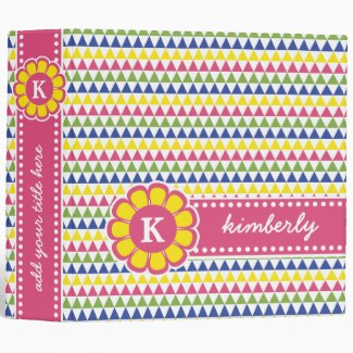 Colorful Geometric Pyramid Flower Ribbon Monogram Binder