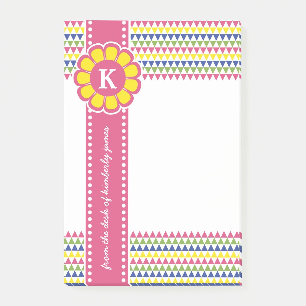Colorful Geometric Pyramid Flower Ribbon Monogram