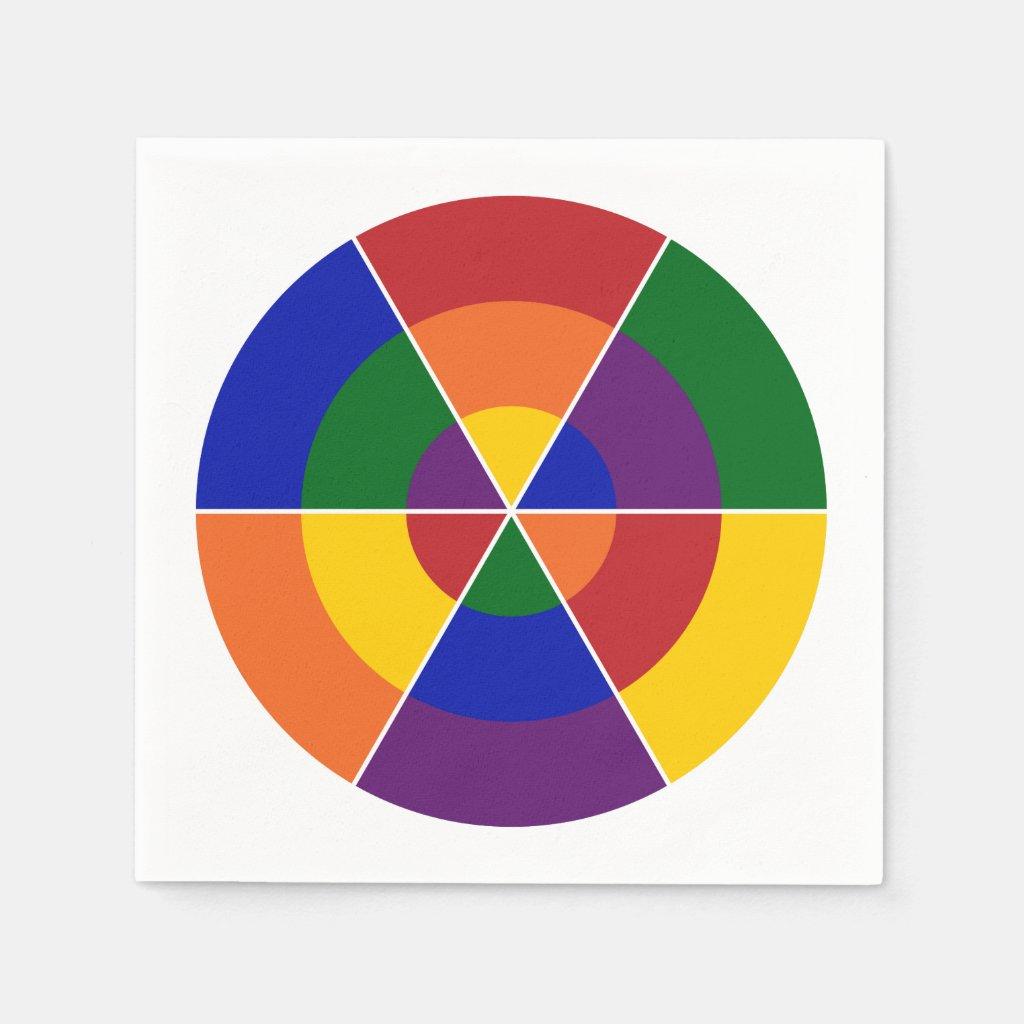 Colorful Geometric Rainbow Circle Pattern Napkin