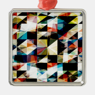 Colorful Geometric Reflections Metal Ornament