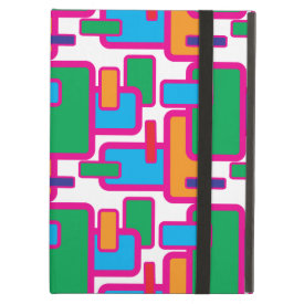 Colorful Geometric Shapes Circuit Board Pattern iPad Covers