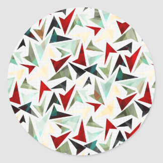 Colorful Geometric Shapes Pattern Classic Round Sticker