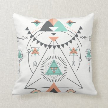 Aztec Themed Colorful Geometric South-Western Totem Design Throw Pillow