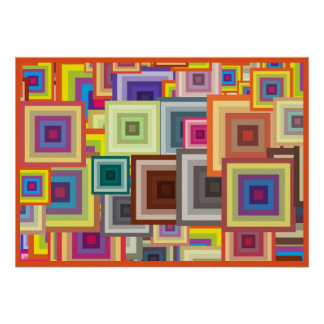 Colorful Geometric Squares with Orange Frame Poster