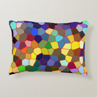 Colorful Geometric Stained Glass Look 2 Accent Pillow
