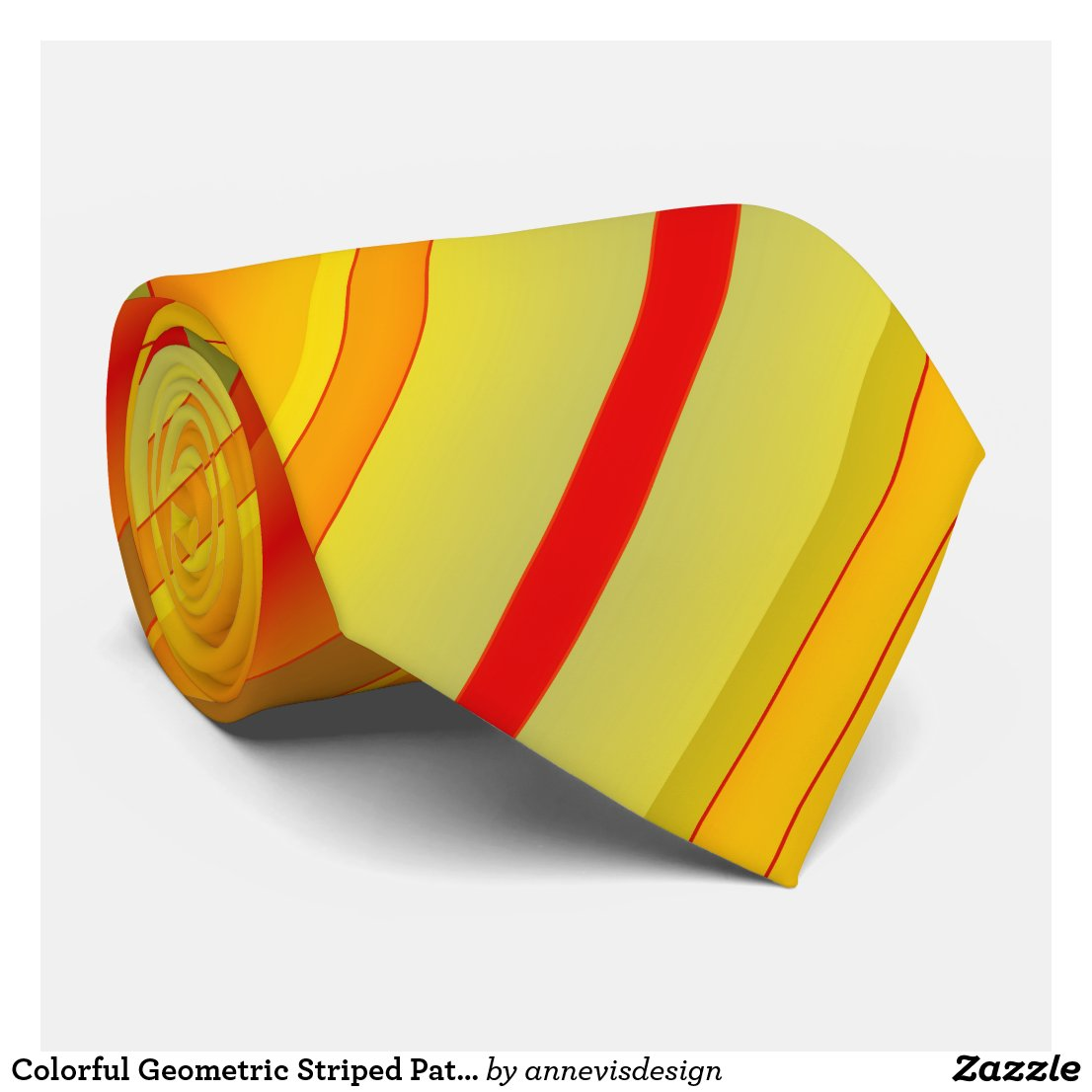 Colorful Geometric Striped Pattern Tie