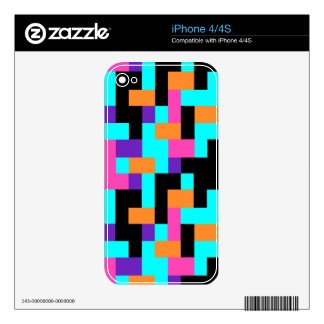 Colorful Geometric Tetris Squares - Modern Pattern iPhone 4S Decals