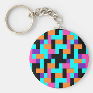 Colorful Geometric Tetris Squares - Modern Pattern Keychain