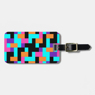 Colorful Geometric Tetris Squares - Modern Pattern Luggage Tag