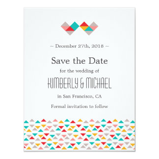 Colorful Geometric Triangle Hearts Save the Date Card