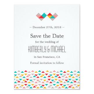 "Colorful Geometric Triangle Hearts Wedding 4.25"" X 5.5"" Invitation Card"