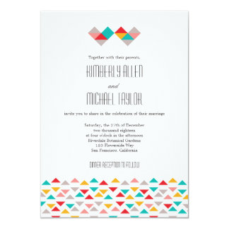 Colorful Geometric Triangle Hearts Wedding Personalized Invitations