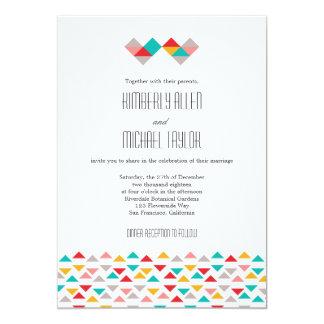 "Colorful Geometric Triangle Hearts Wedding 5"" X 7"" Invitation Card"