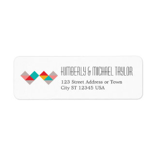 Colorful Geometric Triangle Hearts Wedding Label