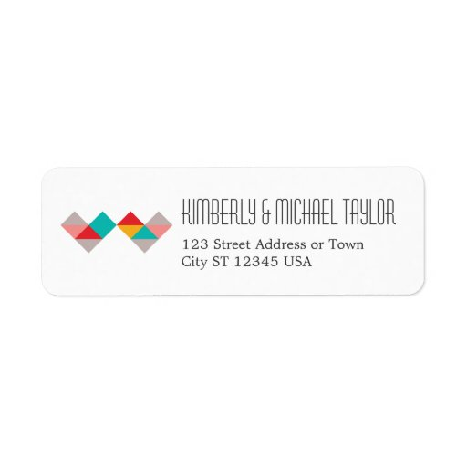 Colorful Geometric Triangle Hearts Wedding Return Address Labels