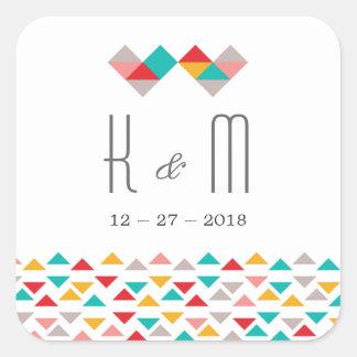 Colorful Geometric Triangle Hearts Wedding Square Sticker