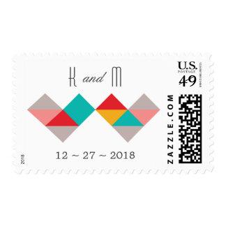 Colorful Geometric Triangle Hearts Wedding Stamp