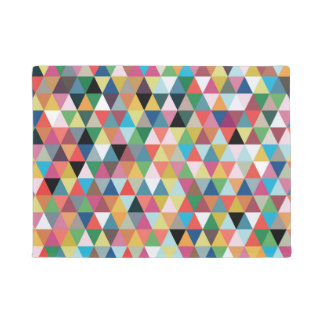 Colorful Geometric Triangle Patterned Door Mat