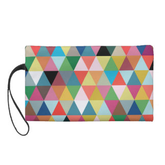Colorful Geometric Triangle Patterned Wristlet