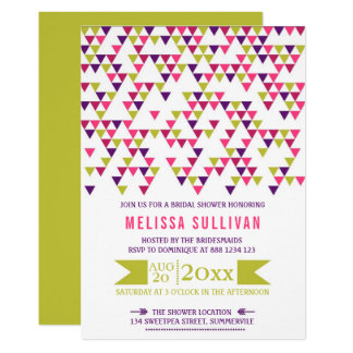 Colorful Geometric Triangles Bridal Shower Card