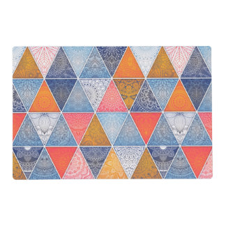 Colorful geometric triangles mandalas pattern placemat