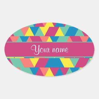 Colorful Geometric Triangles Oval Sticker
