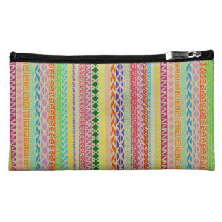 Colorful Geometric / Tribal Sueded Cosmetic Bag