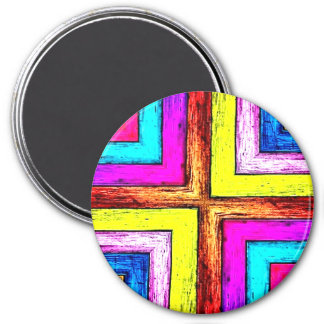 Colorful Geometric Wood Panels 3 Inch Round Magnet