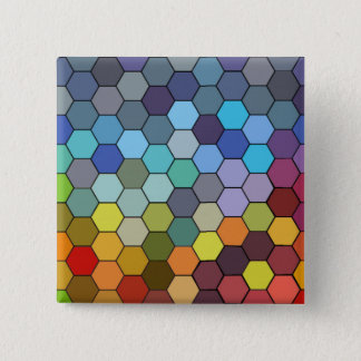 Colorful Geometrical Hexagons Button