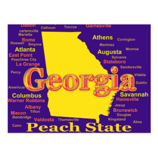 Colorful Georgia State Pride Map Silhouette Postcard