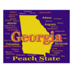 Colorful Georgia State Pride Map Silhouette Posters