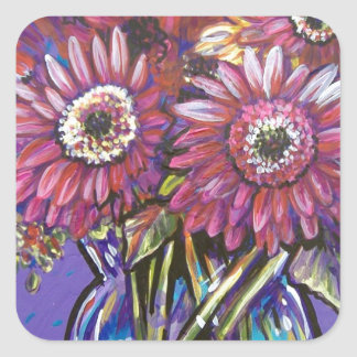 COLORFUL GERBER DAISIES SQUARE STICKER