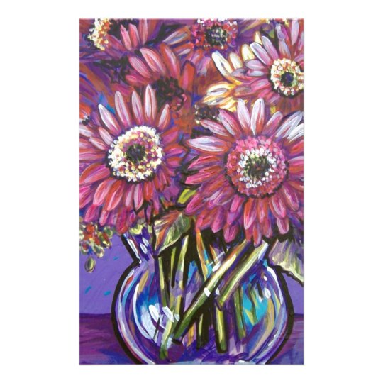 COLORFUL GERBER DAISIES STATIONERY