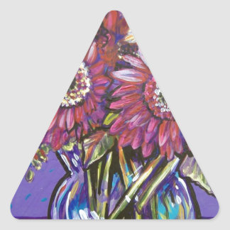 COLORFUL GERBER DAISIES TRIANGLE STICKER