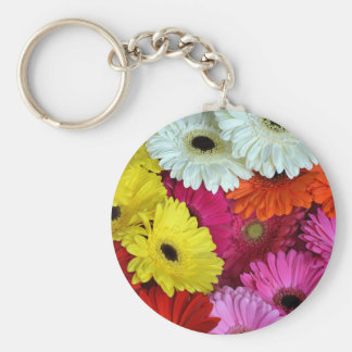 Colorful gerber flowers keychain