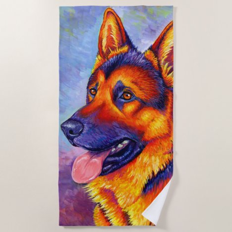 Colorful German Shepherd Dog Beach Towel